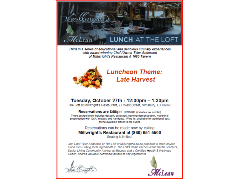 Millwright S And Mclean S Plan Lunch At The Loft For Tuesday