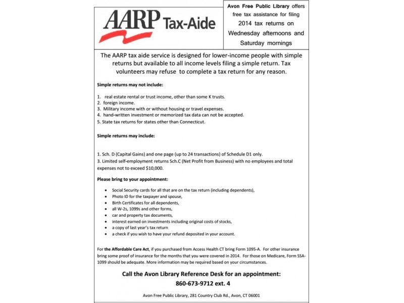 Aarp Tax Service Offered At Avon Library  Avon Ct Patch