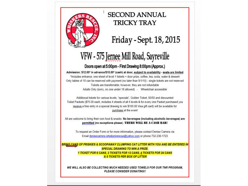 Whiskers Rescue Inc  2nd Annual Tricky Tray | Woodbridge, NJ