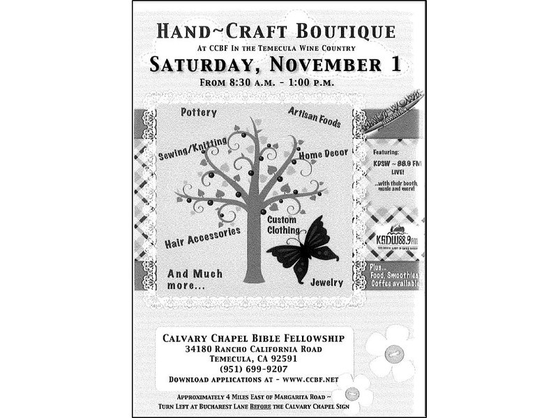 Hand - Craft Boutique in Wine Country 11/01/14 (8am - 1pm