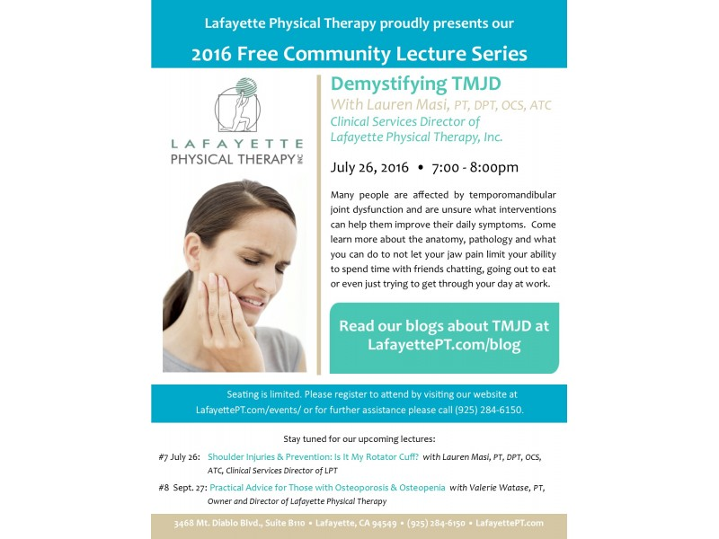 Free Community Lecture: Demystifying TMJD | Concord, CA Patch