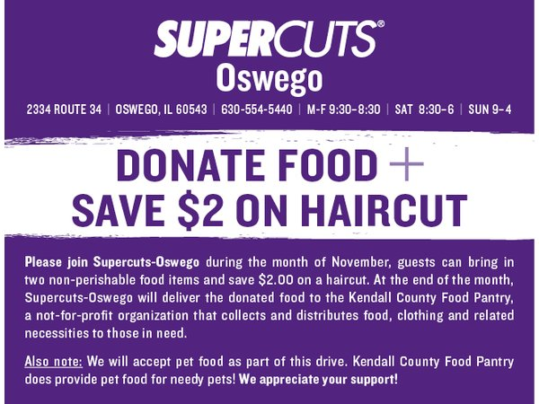 SupercutsOswego supporting Kendall County Food Pantry Yorkville