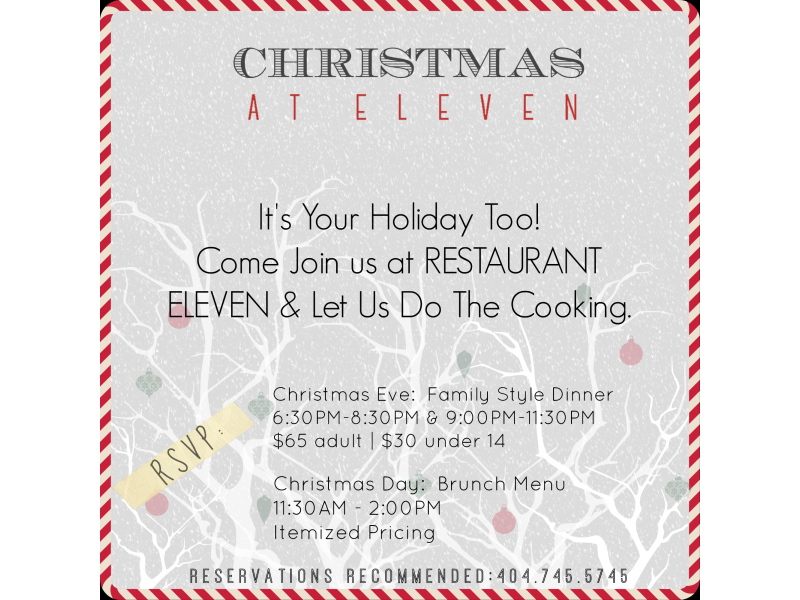 eat drink and be merry at restaurant eleven 0 - Christmas Brunch Menus