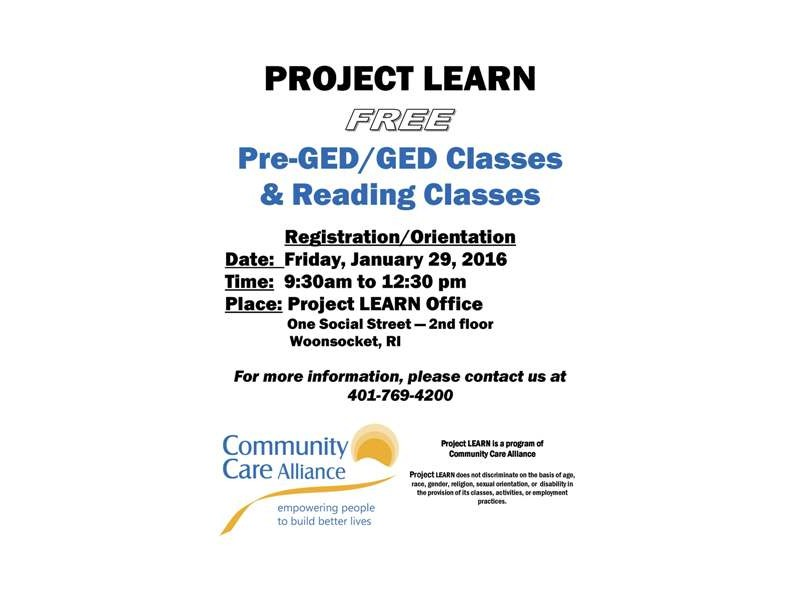 CCA Now Enrolling for Pre-GED/GED and Reading Classes
