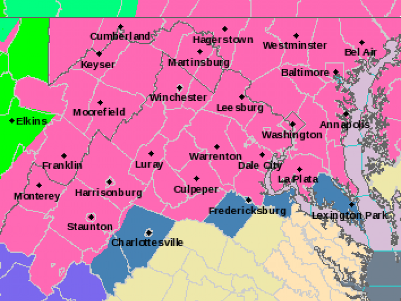 National Weather Service Issues Winter Storm Warning For Northern - Virginia on map