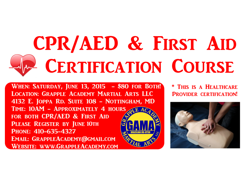 Cpraed And First Aid Certification Course Saturday June 13th At