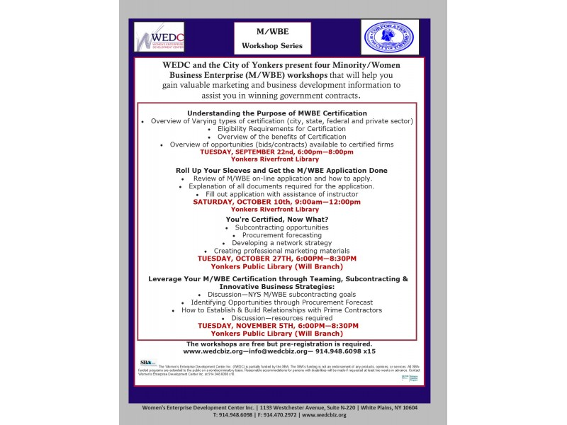Wedc Mwbe Workshop Series White Plains Ny Patch