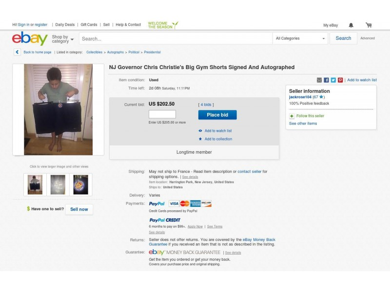 Chris Christie\'s \'Old Gym Shorts\' For Sale On eBay | Caldwells, NJ Patch