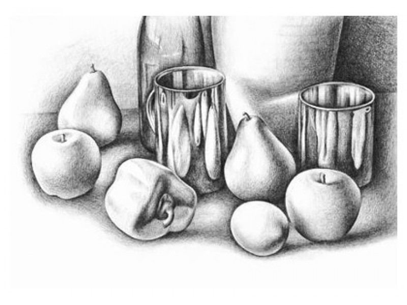 Beginners art class pencil drawing