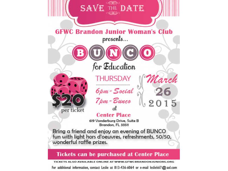 The GFWC Brandon Junior Womans Club invites you to join us for our