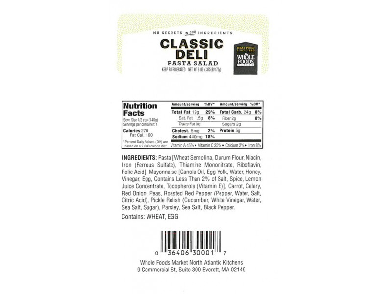 Whole Foods Market Recalls Curry Chicken Salad Classic Deli Pasta