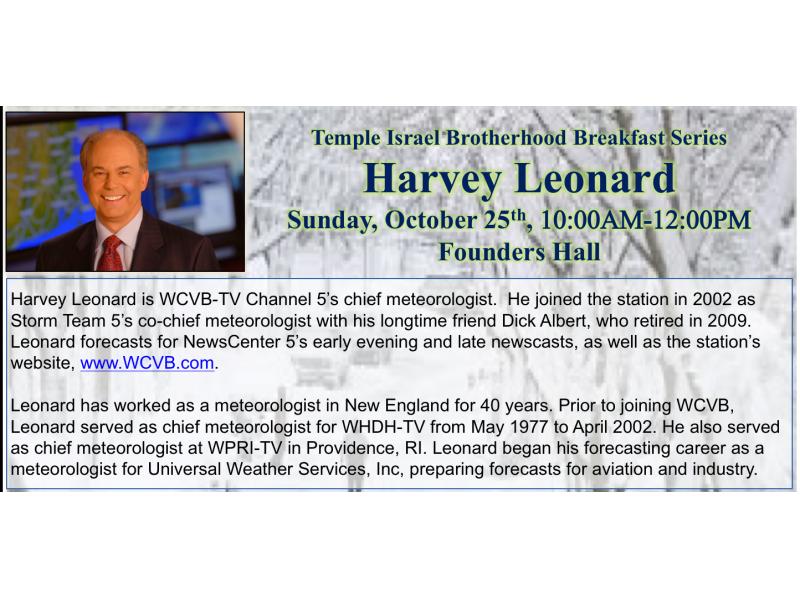 WCVB Chief Meteorologist Harvey Leonard to Speak at Temple