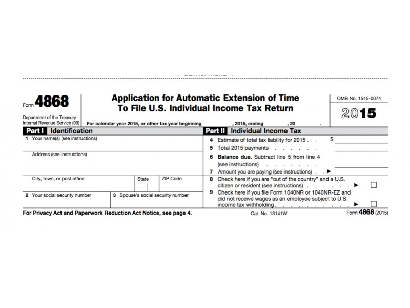 IRS Form 4868: Extension For 2016 Tax Deadline