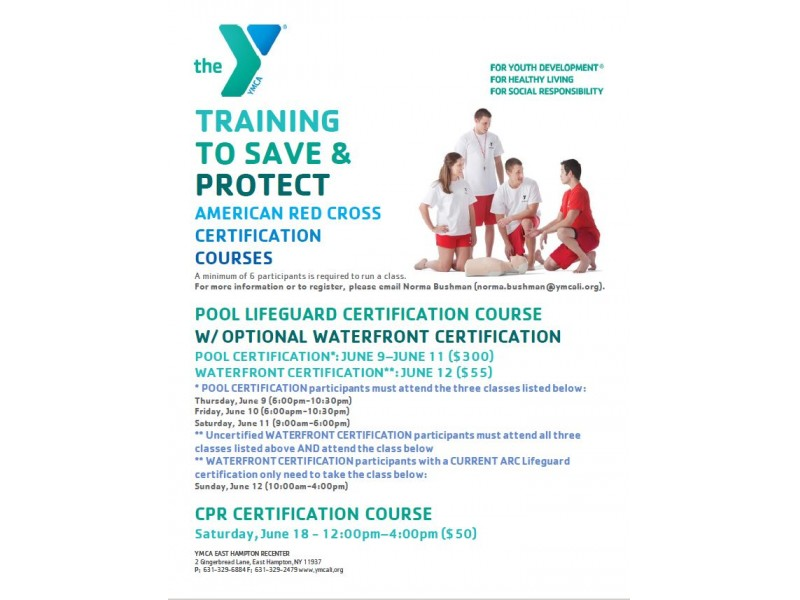 American Red Cross Certification Classes At The Ymca East Hampton
