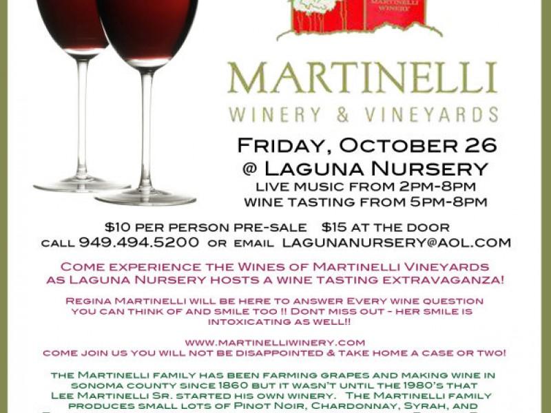 Laguna Nursery Wine Tasting With Martinelli Winery