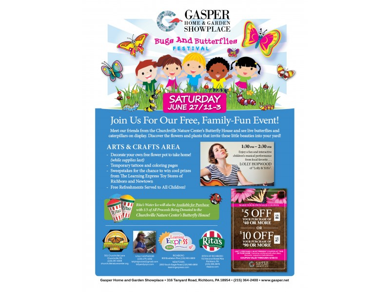 FREE Childrenu0027s Bugs U0026 Butterflies Festival   Sat. 6/27   11am 3pm   Gasper  Home U0026 Garden Showplace, Richboro | Newtown, PA Patch
