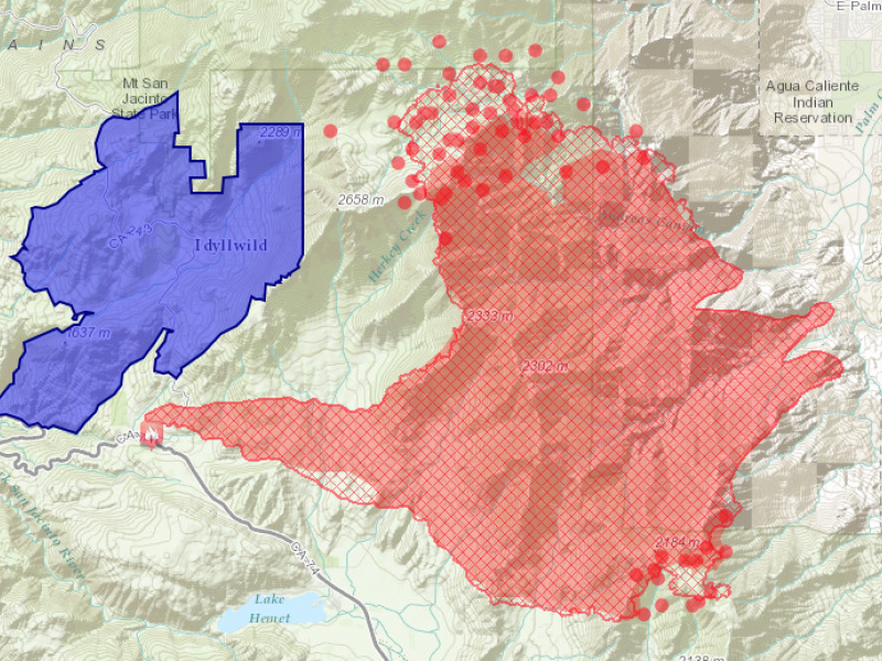 Mountain Fire Local Impact Map By Esri Of Redlands Banning Ca Patch