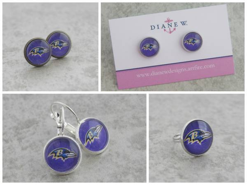 Baltimore Ravens Leverback Gl Dangle Earrings Silvertone