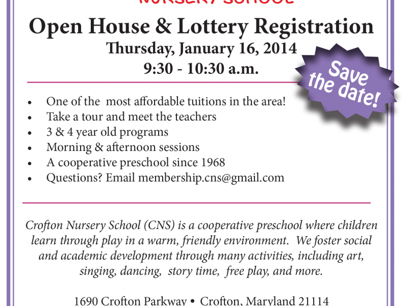 Crofton Nursery School Open House Lottery Registration Md Patch