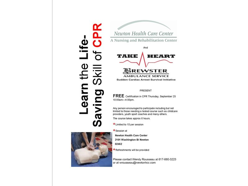 Free Cpr Certification At Newton Health Care Center Newton Ma Patch