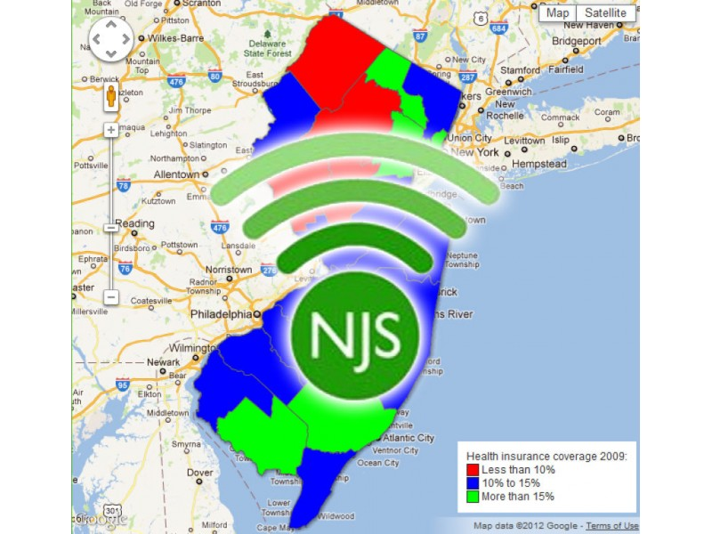 NJ Spotlights Interactive Map Health Insurance Coverage West