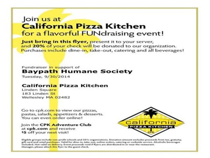 Support animals in need at California Pizza Kitchen | Wellesley, MA ...