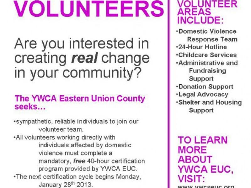 Union Countys Leading Domestic Violence Agency Seeks Volunteers
