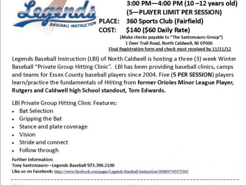 Legends Baseball Instruction Hitting Clinic January 13 Verona Nj
