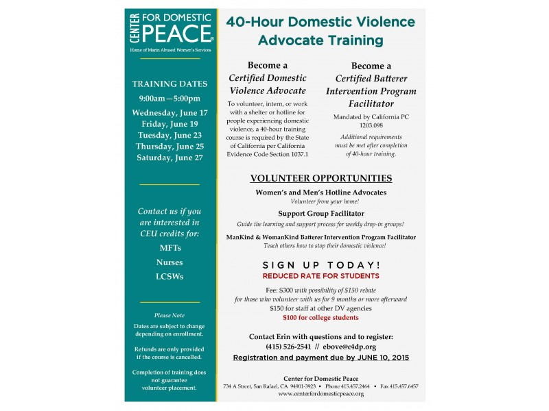 40 Hour Domestic Violence Advocate Training San Rafael Ca Patch