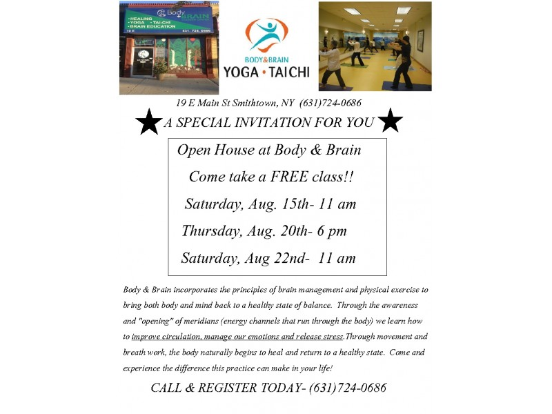 FREE YOGA/TAI CHI CLASSES AT BODY U0026 BRAIN CENTER