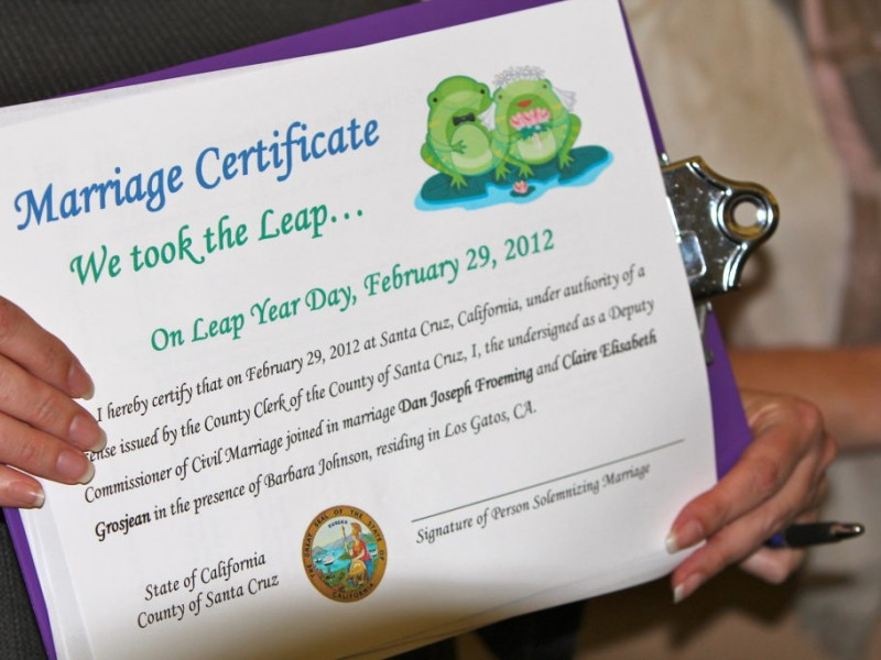 Taking The Big Leap Into Marriage On Leap Day Santa Cruz Ca Patch