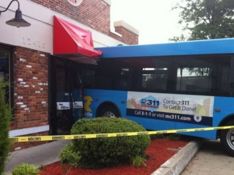 ride on bus crashes into silver spring kfc wheaton md patch. Black Bedroom Furniture Sets. Home Design Ideas