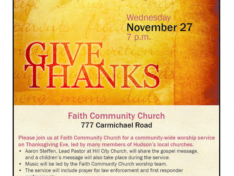 Hudson Community Thanksgiving Service Hosted By Faith Community Church