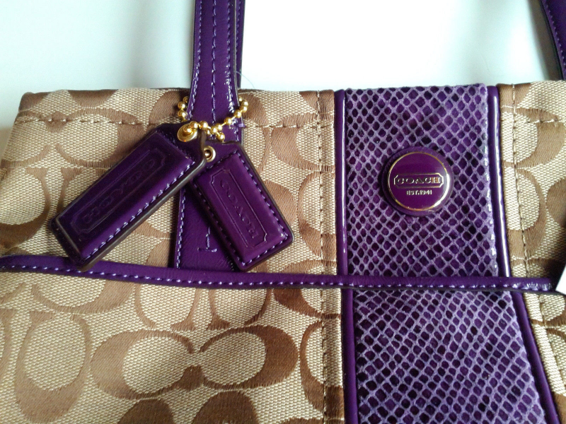 611e6e54a9e Coach Signature Stripe Python Purse Tote   Tech Pouch SET. In Khaki Purple  NWT.