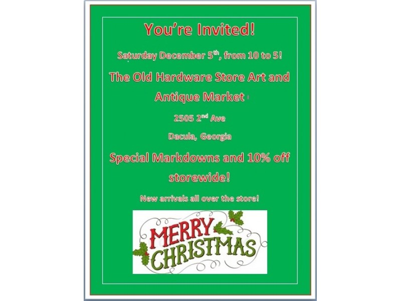 The old hardware store antiques invites you to a christmas for Jewelry stores in gwinnett county ga