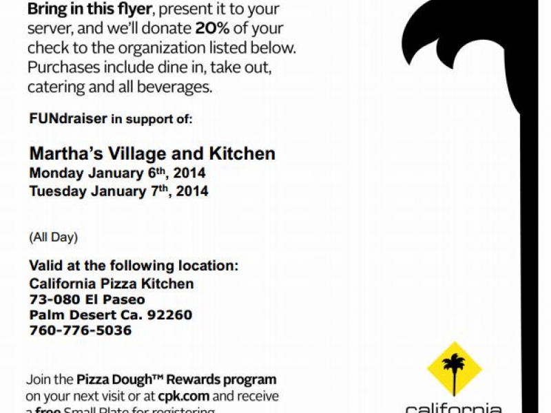 Pizza with a Purpose – California Pizza Kitchen | Palm Desert, CA Patch