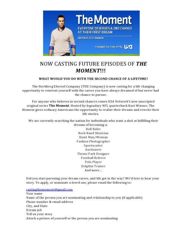 CASTING PEOPLE FOR A SECOND CHANCE AT THEIR DREAM JOB