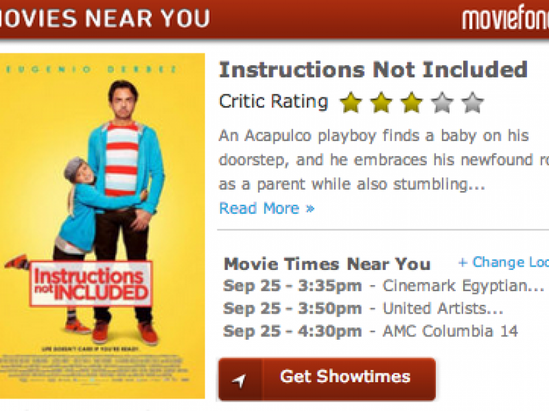 Movie Times Trailers And Reviews Instructions Not Included And