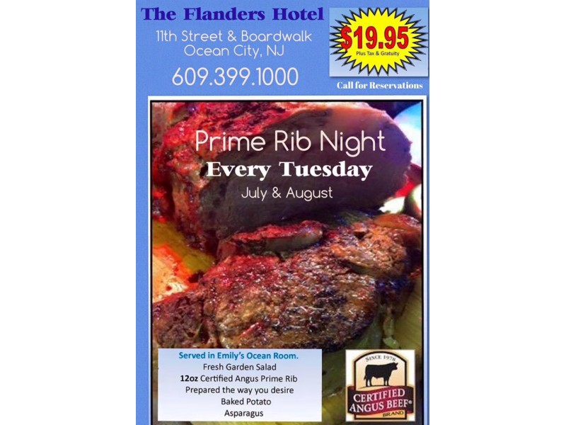 Special Prime Rib Night Every Tuesday At The Flanders Hotel In Ocean City Nj Patch