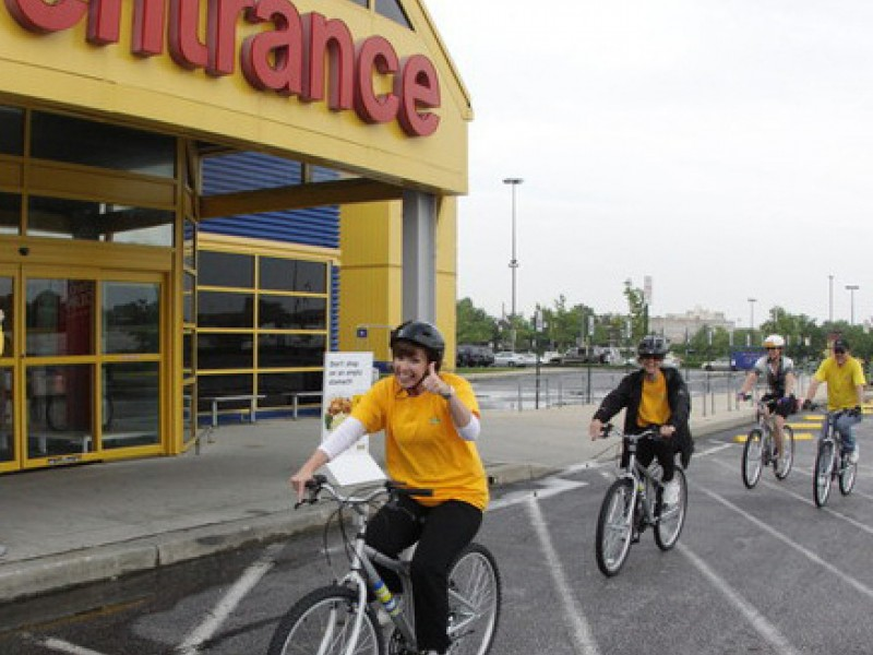 ikea workers county celebrate bike to work day perry