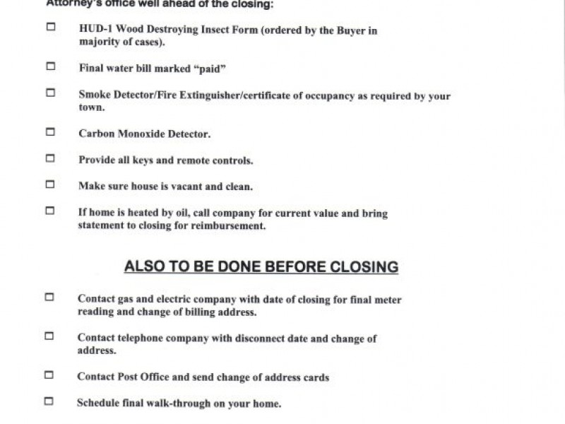 Closing Check List For Home Sellers Mahwah Nj Patch