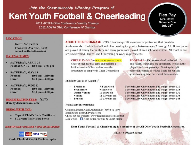 Kent Youth Football Cheer Registration Kent Oh Patch