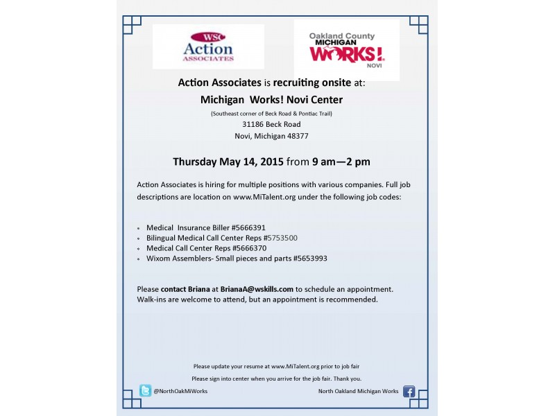 action associates is recruiting onsite at michigan works brighton