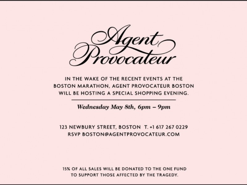 33bcddd5e85 Agent Provocateur Shopping Night Benefits One Fund