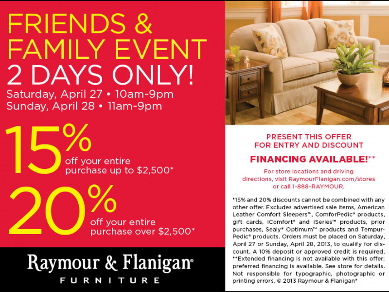 Raymour And Flanigan Furnitures Spring Friends And Family Savings Event