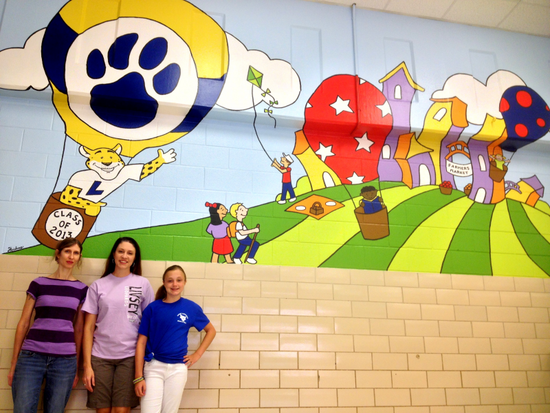 Class gift complete there 39 s a new mural at livsey for Elementary school mural