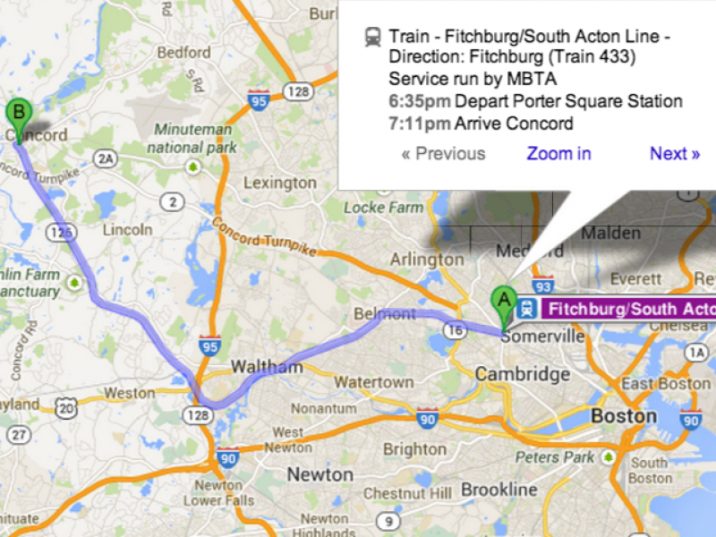 Concord to Cambridge on the Commuter Line? There\'s a Google Map for ...