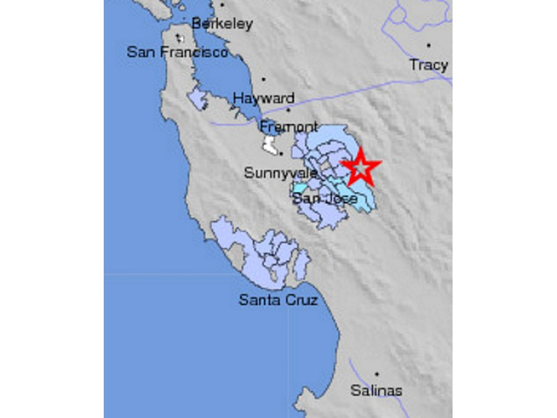 Three San Jose Earthquakes Did You Feel Them Campbell CA Patch - San jose earthquake map usgs