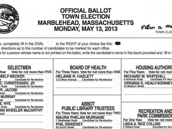 Sample Ballot for Town Election - Marblehead, MA Patch