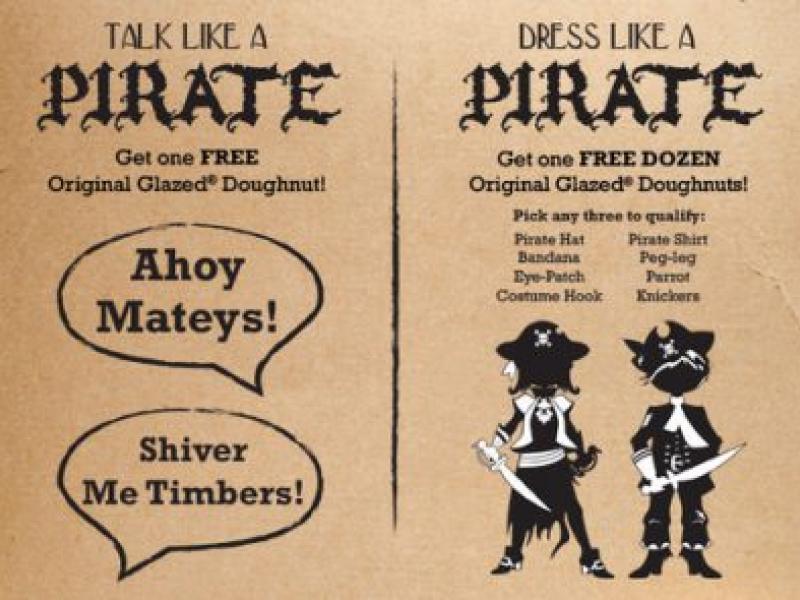 Arrr Talk Like A Pirate And Get Free Krispy Kreme Donuts Thursday